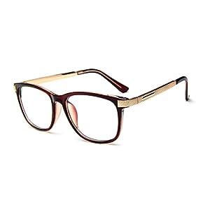 GAMT Unisex Vintage Square Full Frame Eye Glasses Brown