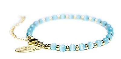 Womens Bracelet by Benevolence LA 14k Gold + Water Drop Aqua Cat Eye Beads Handmade