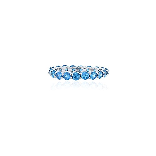 Round Blue Topaz Prong - Sterling Silver 3mm Round Swiss Blue Topaz Prong Set Eternity Band Ring
