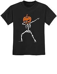 Halloween Dab Jack O' Lantern Dabbing Pumpkin Skeleton Youth Kids T-Shirt