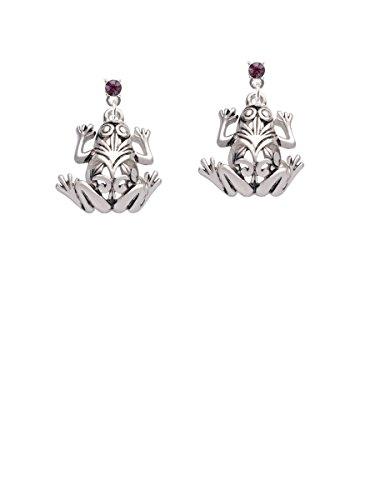 Large Filigree Frog Purple Crystal Post Earrings