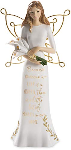 - Pavilion Gift Company Because Someone We Love, Little Bit of Heaven in Our Home-7.5 Inch Gold & White in Memory Figurine 7.5
