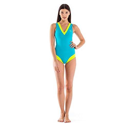 Glidesoul Women's Vibrant Stripes Collection V-Neck Sport One-Piece Swimsuit Peach/Black Medium