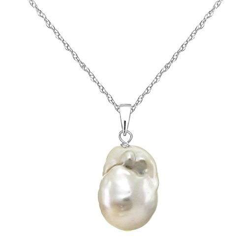 (14k White Gold 12-12.5mm White Nucleated Freshwater Cultured Pearl Pendant Necklace, 18