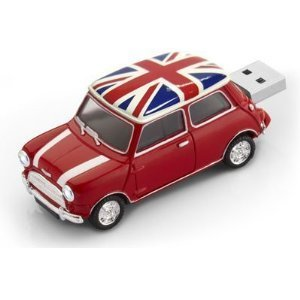 Mini Cooper Red British Pavilion USB Flash Drive - Data Storage Device - 4GB - Key Ring Included