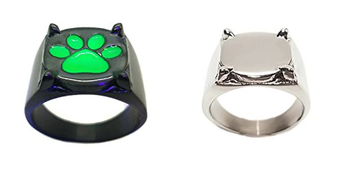 Adriens Silver Chat Noir Ring Glow in The Dark Miraculous Ladybug cat Cosplay