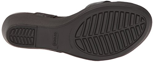 crocs Women's leighann Leather Wedge Sandal, Black/Black, 7 M US by Crocs (Image #3)