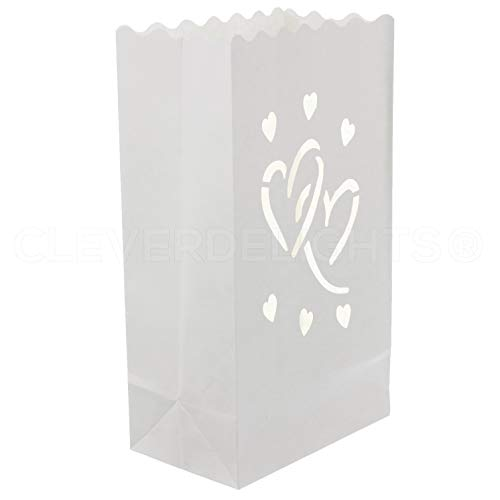 CleverDelights White Luminary Bags - 20 Count - Interlocking Hearts Design - Wedding, Reception, Party and Event Decor - Flame Resistant Paper - Luminaria -