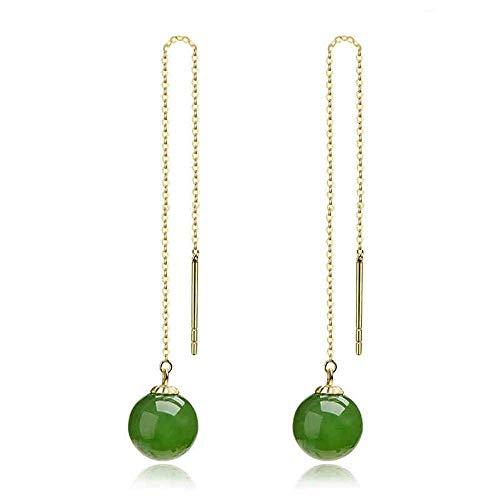 Zhiming Ear line Large mosaic Hetian jasper small round bead pendant earrings Send mom birthday gift