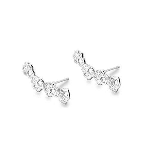 S925 Sterling Silver Puppy Dog Cat Pet Paw Print Cuff Stud Earrings for Women Teen Girls Pierced Ears Climber Crawler 14K White Gold Plated Cute Dainty Kitten Animal Footprint Hypoallergenic Jewelry
