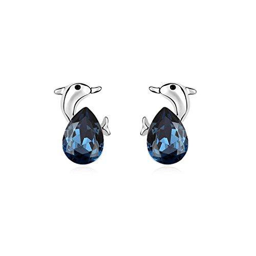 Ablaze Jin Elements Crystal Stud Earring Dolphin Bay Lover High End Earrings Jewelry,Ink Blue