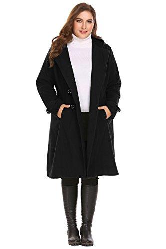 Zeagoo Women Plus Size Double Breasted Wool Elegant Long Lined Trench Coat,24W,Black