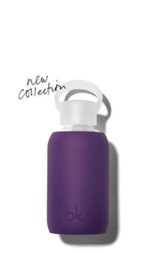 bkr - BEST Original Glass Water Bottle - Premium Quality - Soft Silicone Protective Sleeve - BPA Free - Dishwasher Safe (8oz/ 250ml)-Taj - Royal Purple