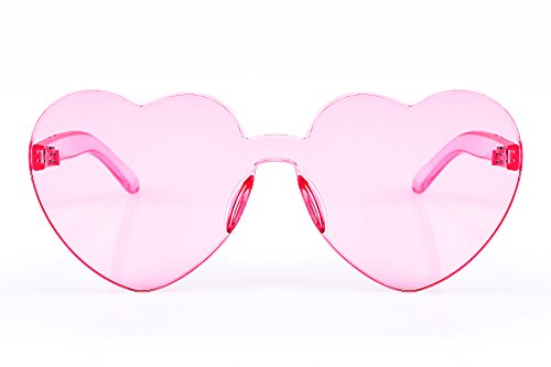 ... FEISEDY Heart Shaped Rimless Sunglasses One Piece Stylish Transparent  Lens B2419 Pink ... c204ea1daec0