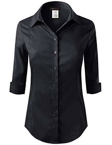ELF FASHION 3/4 Sleeve Stretchy Button Down Collar Office Formal Casual Shirt Blouse for Women (Size S~3XL) Black 3XL -