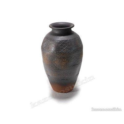 風の水琴工房 焼締壺型花瓶 15号 - 信楽焼 H B076R83TWM