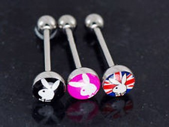 510 Jewelry 1985 - 3 Pc Licensed Playboy Bunny Classic Logo 316L Surgical Steel 14g 5/8