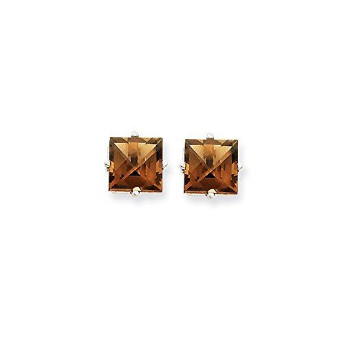 14k White Gold 7mm Square Smoky Quartz Earrings Gem Wt- 3.1ct by Jewelry Pot