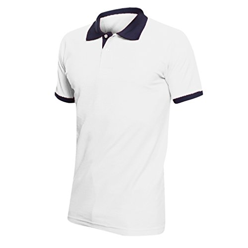 "SOL'S Prince Unisex Contrast Pique Short Sleeve Cotton Polo Shirt (XS (35-36"")) (White/French Navy) - Womens Tournament Polo Golf Shirt"
