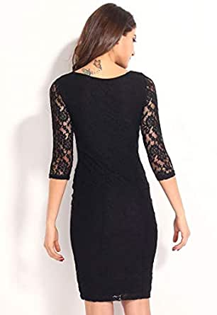 Click On Style Black Lace Workwear Dress For Women