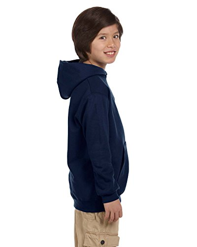 Champion Youth Durable Two-Ply Hood Hoodie, navy, Medium