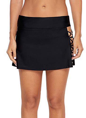 Malaven Women's Beaded Crisscross Aside Swim Skirt Swim Short Bottom Black XXXL 22 - Nylon Beaded Bikini