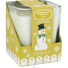 Aroma Naturals Holiday Candle (Aroma Naturals Wish Peppermint Vanilla Soy Large Sq)