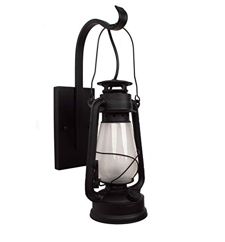 (Lantern Wall Sconce Large Frosted Hurricane Glass (Black))