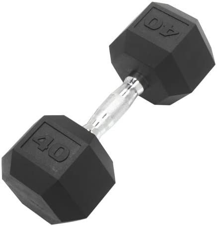 Detroit Weight Co DWC Dumbbell Hex Rubber Coated, Commercial Grade, Ergonomic Steel Handle, Singles, 5-110lbs