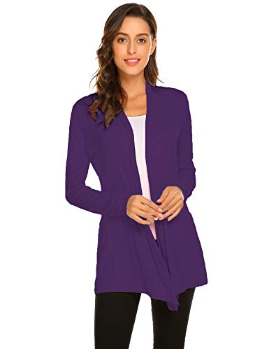 Newchoice Womens Classic Open Front Lightweight Cardigans Casual Long Sleeve Loose Kimono Cardigans Cover ups (Purple, S)