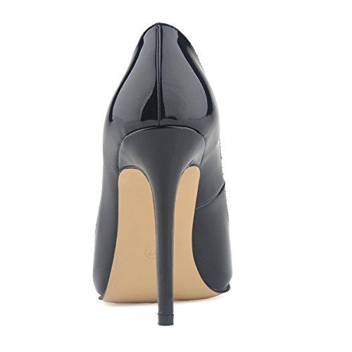Naisten Kengät Tyyli Loslandifen Musta Työtä Patentti Pumput Korsetti Pu Korkokengät dAAxqw68C