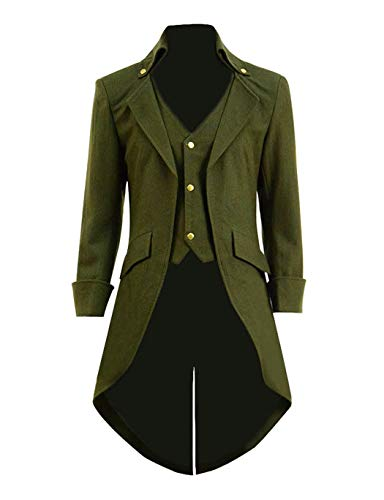 Qipao Mens Gothic Tailcoat Jacket Steampunk Victorian Coat Halloween Cosplay Costume Party Uniform (L, Army Green(Woolen))]()