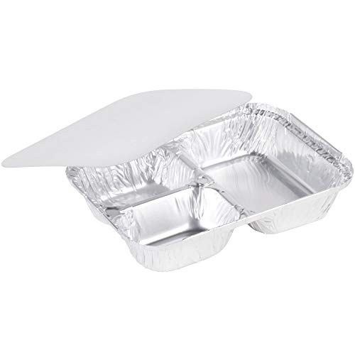3 Compartment Aluminum Foil Pan - Disposable Container with Board Lid; Dinner Trays for Outdoor Parties & Picnic, Lunch Box to Keep Food safe & Fresh - Made in USA (Pack of 25)
