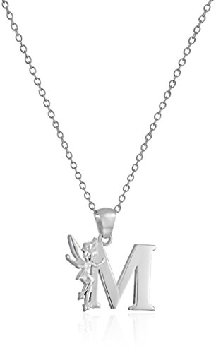 """Disney """"Tinkerbell"""" M Initial Silver Pendant Necklace, 18"""""""
