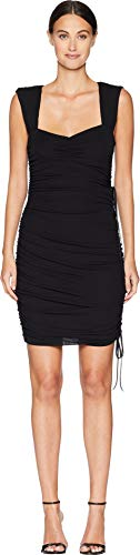 Nicole Miller Women's Light Weight Matte Jersey Ruched Dress, Black, 12