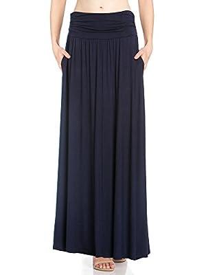 Fashion California Womens 1-2 Pack High Waist Shirring Maxi Skirt with Side Pockets (S-XXXXXL)