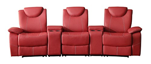 Homelegance Talbot Triple Reclining Theater Seating with Adjustable Headrest and Center Cup Holders Console with Compartment Bonded Leather, Red (Theater Match 3 Recliner Leather)