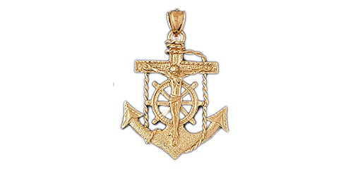 14k Yellow Gold Mariners Cross/Crucifix Pendant (Approximate Measurements 27mm x 40mm) 14k Yellow Gold Mariners Cross