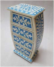Wooden Bone Inlay Small Chest of Drawers