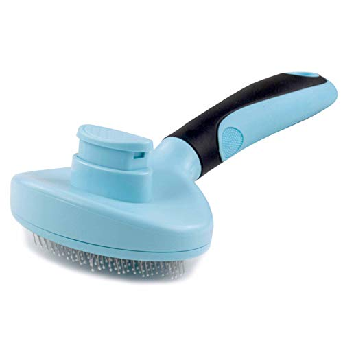 Muryobao Dog Brush & Cat Brush & Pet Brush – Quick Soft Self Cleaning Brush – for Long/Short Hair – Pet Shedding Grooming Tools – Idesl for Everyday Brushing or Sensitive Skin Blue & Black