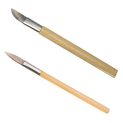(Chiloskit 2PCS Agate Polishing Burnisher Agate Knife Gold Silver Jewellery Clay Craft Jewellers Tool)
