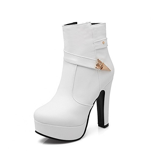 AmoonyFashion Solid Closed Women's Low Toe High Top Boots Heels PU Round White rwdRrnEq8x
