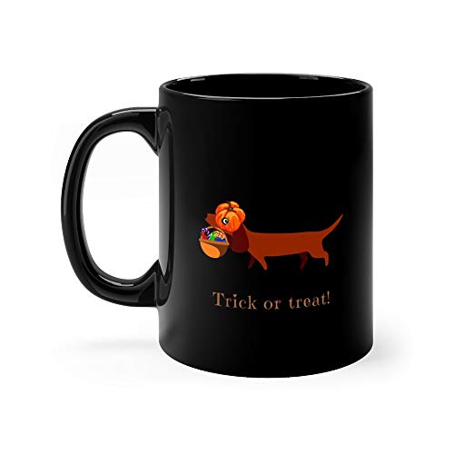 Dachshund In Carries A Pumpkin Basket With Sweets The Inscription Trick Or Treat Postcard Stand Tea Mugs 11 Oz -
