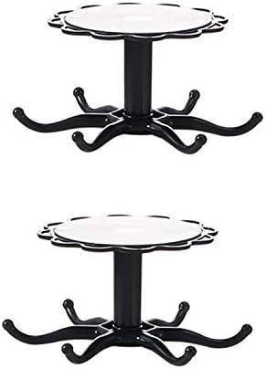 Gohfeoeo adhesive Hooks Kitchen Hooks- 360° rotating hook Free Sticky Hangers (Adhesive Hooks) (black)(2 pieces)