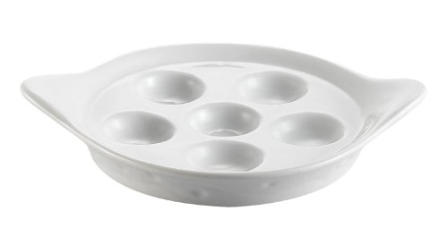CAC China ESD-9 Porcelain Round Escargot Dish with 2 Handles, 8-1/2 by 1-1/4-Inch, Super White, Box of 36 by CAC China