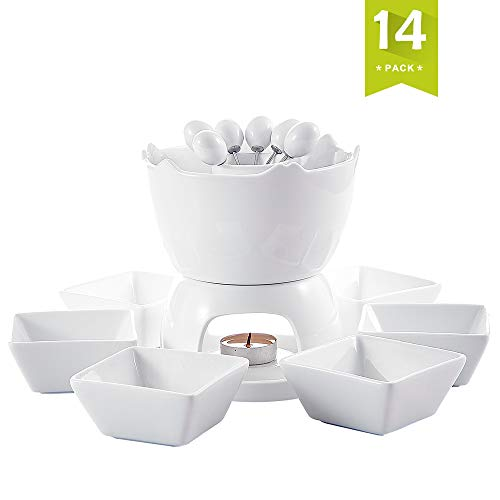 (Malacasa Fondue Pot Set Two-layer Porcelain Tealight Chocolate Fondue with Dipping Bowls and Forks for 6, Cheese Fondue or Butter Fondue Set, White)