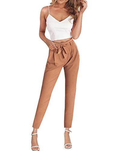 FANCYINN Women 2 Pieces Outfit Spaghetti Strap Top and Bodycon Long Pant with Belt Multicolor S