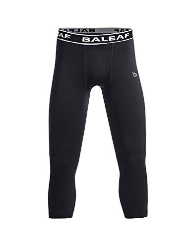 BALEAF Youth Boys' Compression Pants 3/4 Leggings Sports Tights Football Basketball Baselayer Black Size M