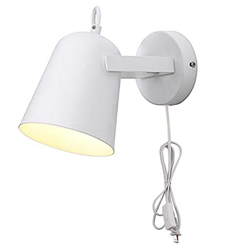 Kiven Modern Bedside Reading Wall lamp White Metal Come with 6 Feet Plug in Line Wall Sconce Adjustable Lamp - Bullet Wall Lamps