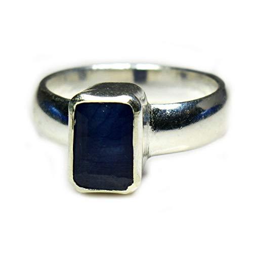 Gemsonclick Rectangle Blue Sapphire Silver Ring 7 Carat September Birthstone Chakra Healing Size 5-13 from Gemsonclick